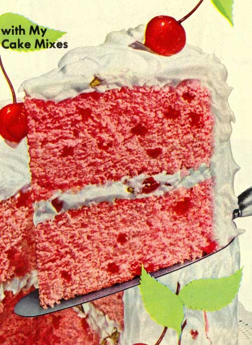 From 1952, it's a recipe for Cherry Blush cake from Aunt Jemima. Now THIS looks like a cake I would seriously enjoy!