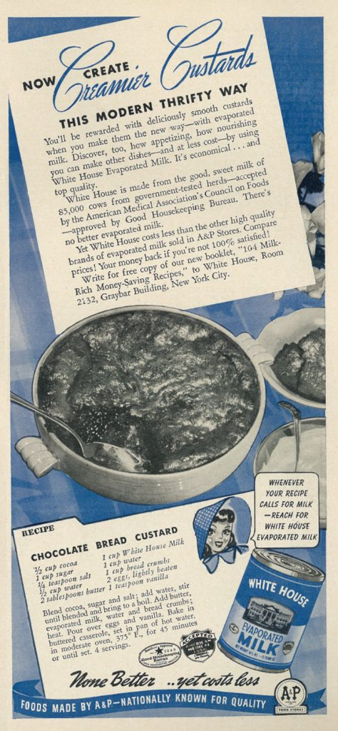 Chocolate Bread Custard Recipe from Womans Day Magazine - 1941